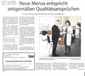 Zeitungsausschnitt Mensaeröffnung in der OTZ