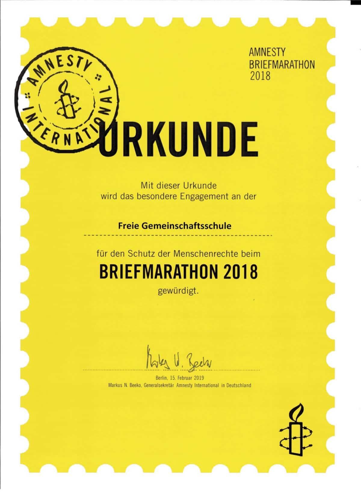 Urkunde des Briefmarathon