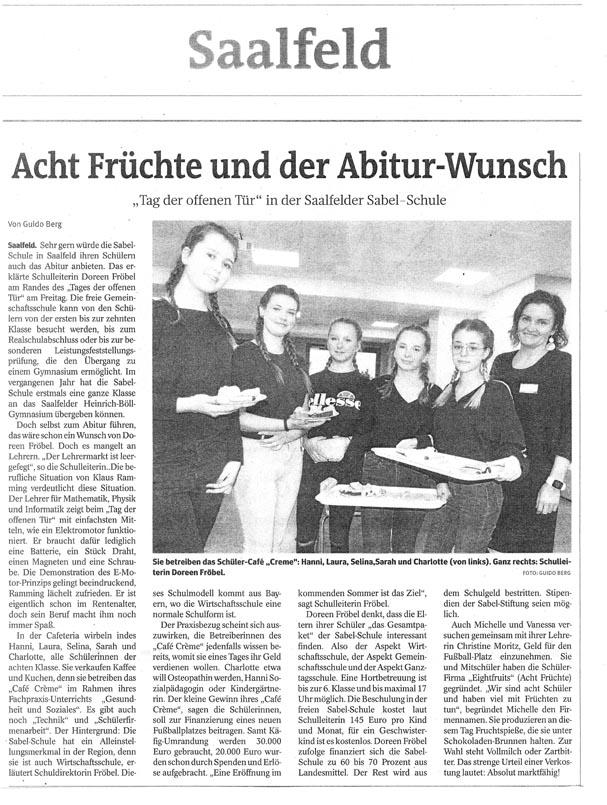 Zeitungsausschnitt über den Tag der offenen Tür an der SABEL Schule Saalfeld