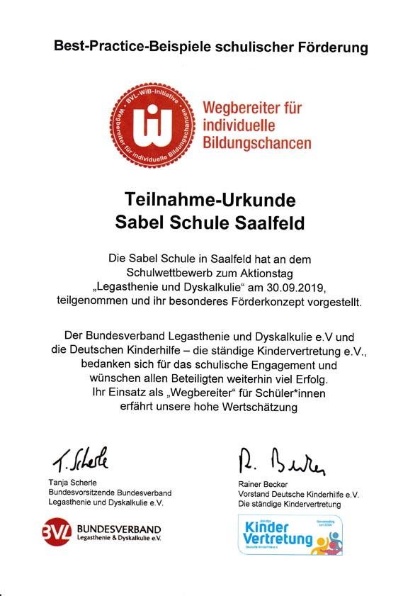 Teilnahme-Urkunde der SABEL Schule Saalfeld am Schulwettbewerb zum Aktionstag Legasthenie und Dyskalkulie